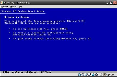 התקנת XP בתוך VirtualBox