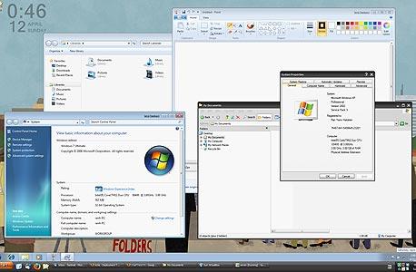 חלונות 7 פועלת במערכת וירטואלית תחת חלונות XP, במצב Seamless