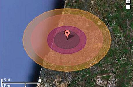 """רדיוס הפגיעה של """"ליטל בוי"""" - הפצצה שנפלה על הירושימה - לו היתה נוחתת בת""""א"""