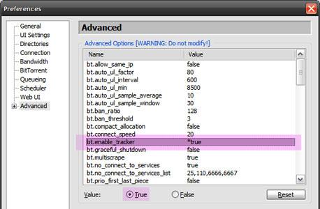 הפעלת הטראקר של uTorrent