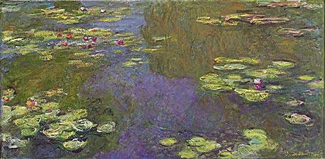 """""""חבצלות המים"""" של קלוד מונה. """"מרבית האנשים מעדיפים ציורי נוף, והגוון הכחול גם הוא העדפה מולדת"""""""