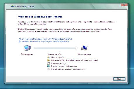 גיבוי הגדרות עם Windows Easy Transfer