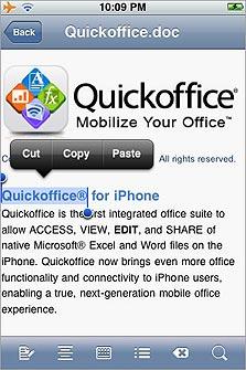 Quickoffice, צילום מסך