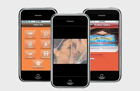 שלושה יישומים שנבנו באתר של SwebApps. מימין: קטלוג של גלריה, אלבום חתונה ויישום מידע של חברת ביטוח