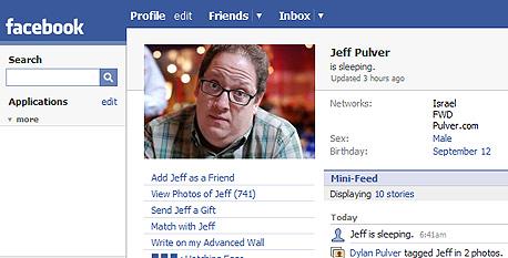 הכרטיס האישי של ג'ף פולבר בפייסבוק