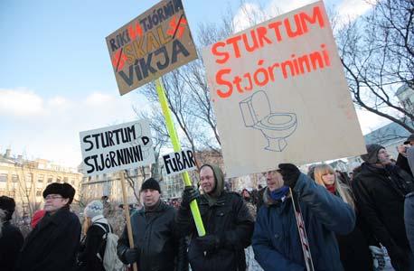 מפגינים באיסלנד