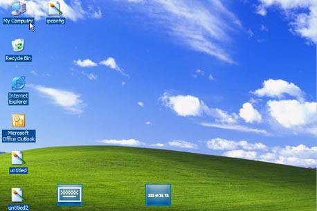 צילום מסך מתוך Mocha VNC, המכיל את כפתור Menu וכפתור המקלדת