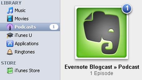 פודקאסט בספריית ה-iTunes במחשב