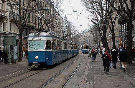ציריך.  התחבורה הציבורית נחשבת לאחת היקרות בעולם, צילום: בלומברג
