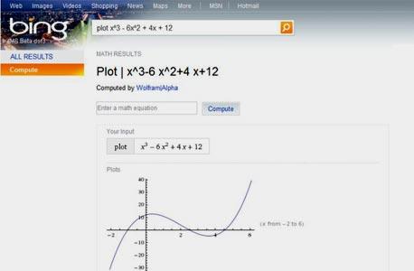 פתרון משוואות מתמטיות בוולפראם אלפא המשולב בבינג