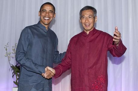 ברק אובמה ראש ממשלת סינגפור Lee Hsien Loong , צילום: בלומברג
