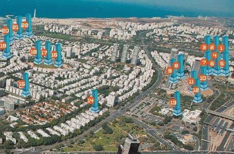 מפת המגדלים של תל אביב - צפון העיר
