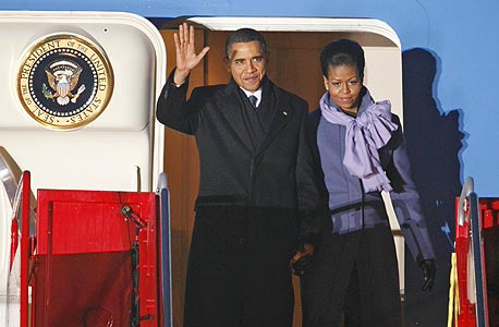 ברק אובמה ו מישל אובמה פרס נובל, צילום: איי אף פי