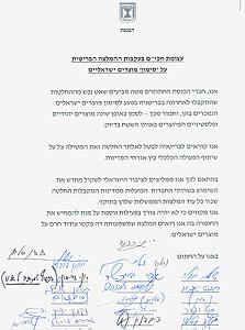 חתימות חברי הכנסת על העצומה