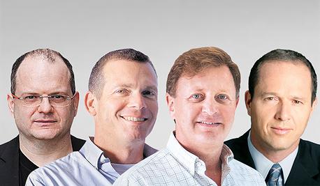 משתתפי הוועידה המוטסת: מימין - ניר ברקת, זיו אבירם, נדב צפריר וגיל שויד, צילום: ראובן קפוצ