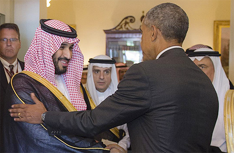 """נסיך הכתר סעודיה מוחמד בין סלמן נשיא ארה""""ב ברק אובמה הבית הלבן 2015, צילום: איי פי"""