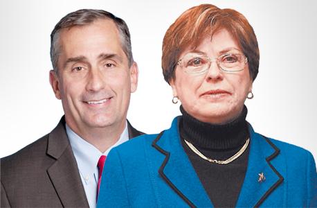 """מימין: מנכ""""לית אינטל ישראל מקסין פסברג ומנכ""""ל אינטל העולמית בריאן קרזניץ"""