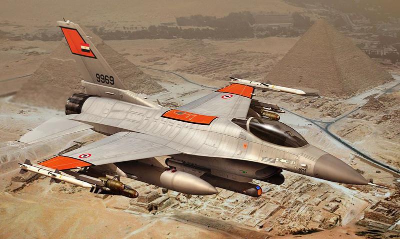 """מטוס F-16 בשימוש חיל האוויר המצרי. אחד הצבאות הוותיקים במזרח התיכון הזוכה לסיוע מצד ארה""""ב"""