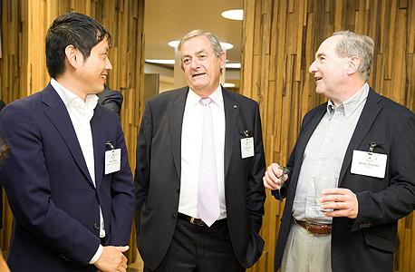 Kenneth Grossberg (left) Elchanan Harel and Atsushi Mizuno. Photo: Orel Cohen