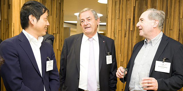 Kenneth Grossberg (left) Elchanan Harel and Atsushi Mizuno. Photo: Orel Cohen
