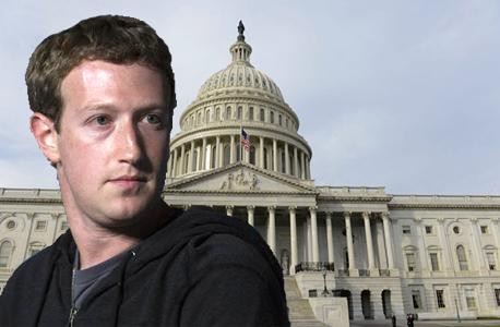 """מארק צוקרברג על רקע הסנאט בארה""""ב, צילום: בלומברג ואי פי איי"""
