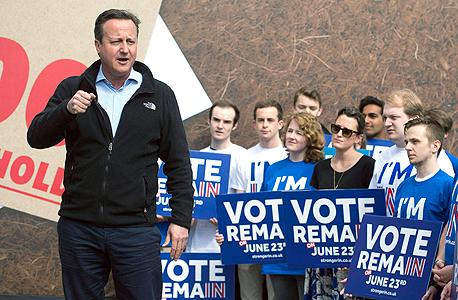 ראש ממשלת בריטניה דיוויד קמרון מגייס תומכים בלונדון בעד הישארות באיחוד, צילום: אי פי איי