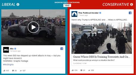 פייסבוק דמוקרטי מול רפובליקאי, צילום: wsj.com