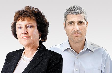 מימין ראש אגף התקציבים אמיר לוי ונגידת בנק ישראל קרנית פלוג, צילום: עמית שעל, אבי רוקח