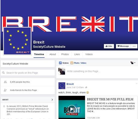 Brexit בפייסבוק, צילום: facebook