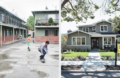 """מימין: פאלו אלטו מול איסט פאלו אלטו. """"נשמע פנטסטי, מי לא רוצה בית ב-400 אלף דולר בעמק הסיליקון? אבל אם תנסה לגור שם, יירו בך אחרי יומיים"""" , צילום: בלומברג"""