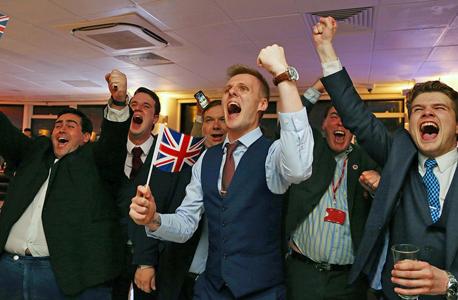 ברקזיט תומכים בפרידה חוגגים ניצחון ב לונדון איחוד אירופי, צילום: איי אף פי