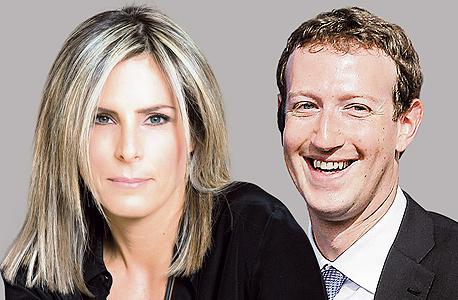 """מימין מנכ""""ל פייסבוק מארק צוקרברג  ו מנכ""""לית פייסבוק ישראל עדי סופר תאני, צילומים: אי.פי, מירי דוידוביץ"""