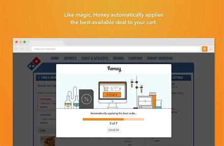honey אפליקציה קניות ברשת, צילום מסך