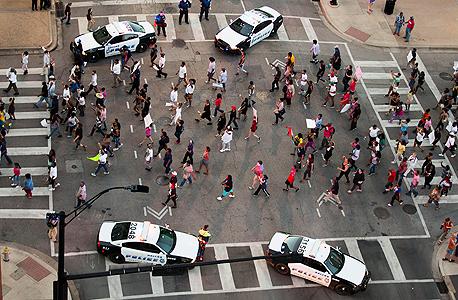 אזור הירי בטקסס בה נהרגו 4 שוטרים בידי שחורים, צילום: אי פי