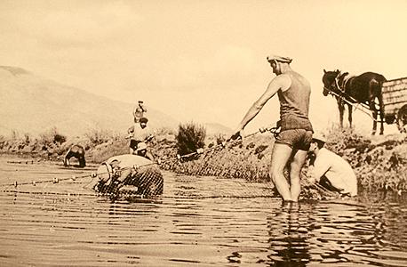 דייגי עבר בניר דוד, שביסס את ענף בריכות הדגים בארץ. עדיין אחד ממקורות ההכנסה המרכזיים של הקיבוץ, צילום רפרודוקציה : עמית שעל