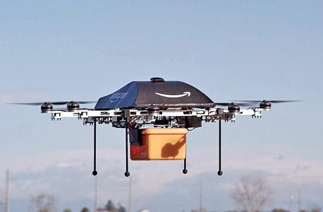 הרחפן Prime Air שאמזון בוחנת. חלק אינטגרלי מעתיד משלוחי המצרכים, בתנאי שייהפכו למוצרי מדף זולים, צילום: בלומברג