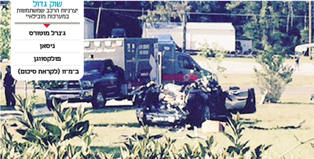 ברקע: זירת התאונה בפלורידה