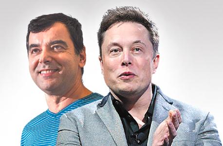 """מימין: אילון מאסק ואמנון שעשוע. לפני 12 יום הפתיע מאסק וכתב בטוויטר (למעלה): """"אני מבקש להודות למובילאיי על עזרתה בשיפור מערכת הנהיגה האוטונומית"""""""