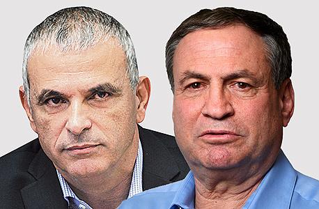 מימין עוזי דיין ו משה כחלון, צילומים: עמית שעל ואלכס קולומויסקי