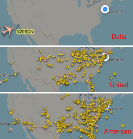 """הטיסות מעל ארה""""ב כעת - דלתא עם טיסה אחת בלבד (בחלק העליון)"""