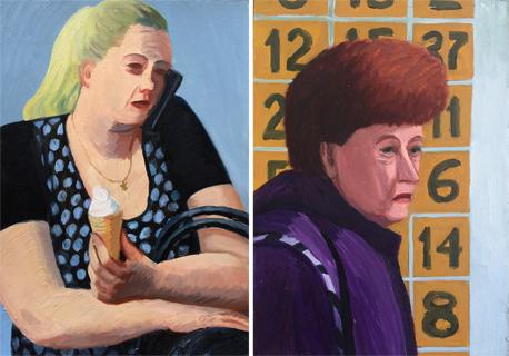 """לוקשבסקי וציורים מסדרת """"חיפה הסובייטית"""": """"הם לובשים בגדים אקסצנטריים וצבעוניים. אולי כי בברית המועצות הצבעים היו חסרים"""""""