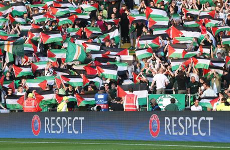 אוהדי סלטיק והדגלים הפלסטינים. פרובוקציה