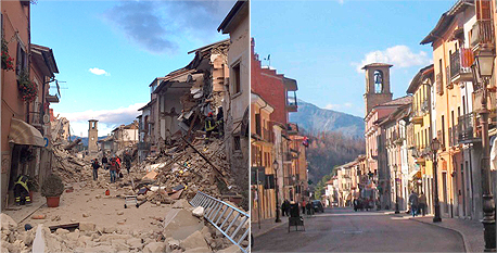 רעידת אדמה רעש אדמה אמטריצ'ה איטליה לפני ואחרי, צילום: twitter @MarksLarks