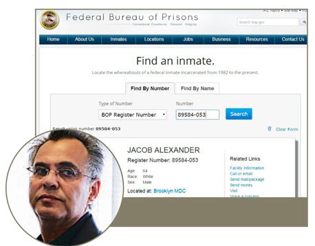 קובי אלכסנדר והעמוד שלו באתר שירות בתי הסוהר הפדראלי