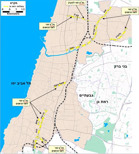 """מפת נתיבי התחבורה הציבורית בת""""א"""