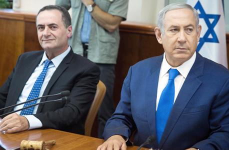ביבי נתניהו ו ישראל כץ אתמול בישיבת הממשלה, צילום: הדס פרוש