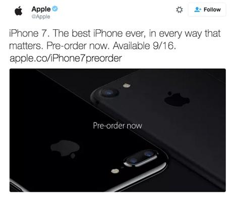 אפל אייפון 7 טוויטר, צילום מסך טוויטר