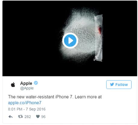 הציוץ המוקדם של אפל על האייפון החדש. עמידות למים