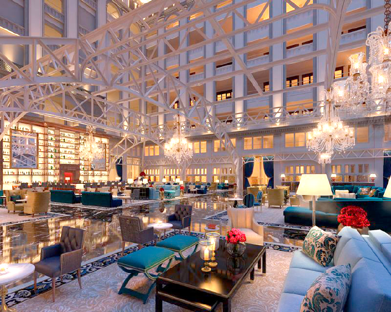הלובי במלון. גובה של 9 קומות