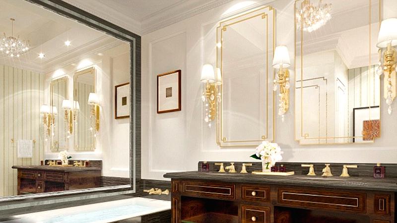 חדר האמבטיה בחדר במלון. זהב במיטב המסורת של טראמפ